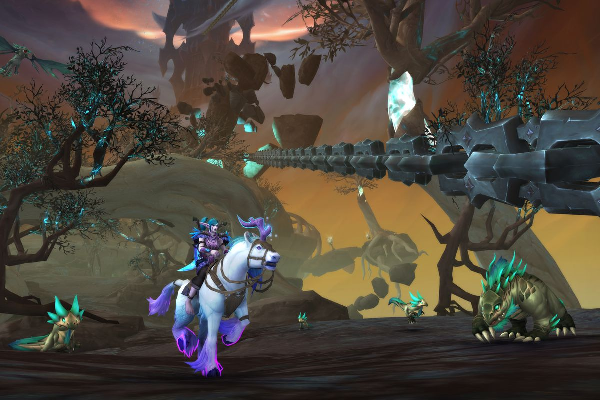 WoW Shadowlands hero rides a mount in the Maw