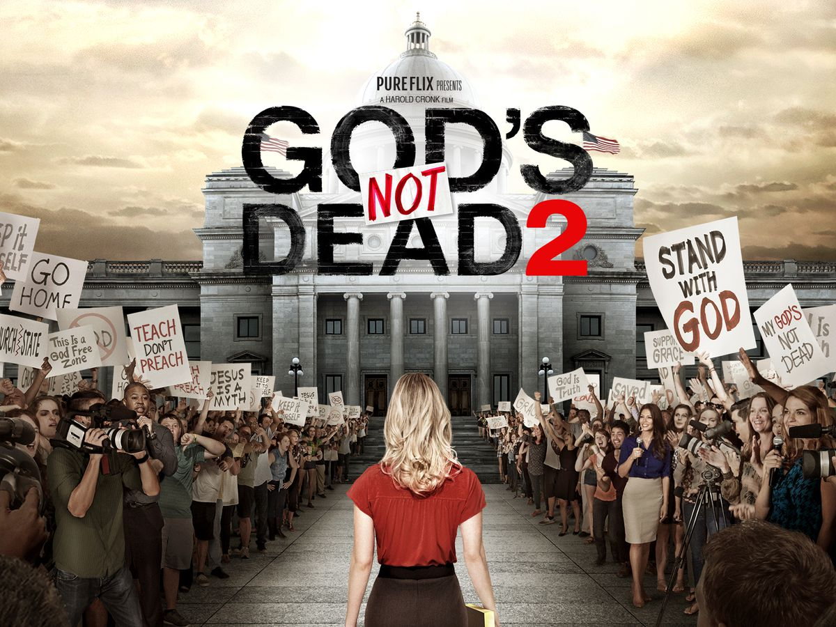 Advertisement for God's Not Dead 2, starring Melissa Joan Hart as a teacher who lands in court for mentioning Jesus in a public school classroom.