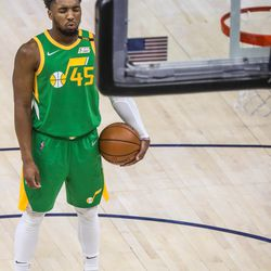 Utah Jazz guard Donovan Mitchell (45) prepares to shoot a free throw during the game at Vivint Smart Home Arena in Salt Lake City on Thursday, April 8, 2021.