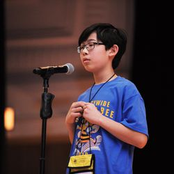 Aaron Chang from Audubon Elementary School competes in annual Citywide Spelling Bee Championship at the Lindblom Math and Science Academy on March 14, 2019. The winner will earn the opportunity to represent Chicago Public Schools at the Scripps National Spelling Bee in Washington, D.C., where they will compete against the best spellers from across the nation for the title of 2019 national Spelling Bee Champion and an opportunity to win a $40,000 prize. | Victor Hilitski/For the Sun-Times