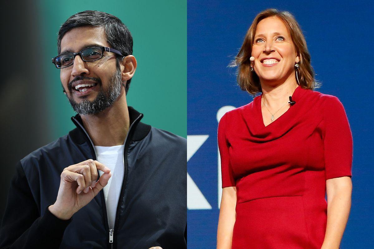 Photo collage of Google CEO Sundar Pichai and YouTube CEO Susan Wojcicki