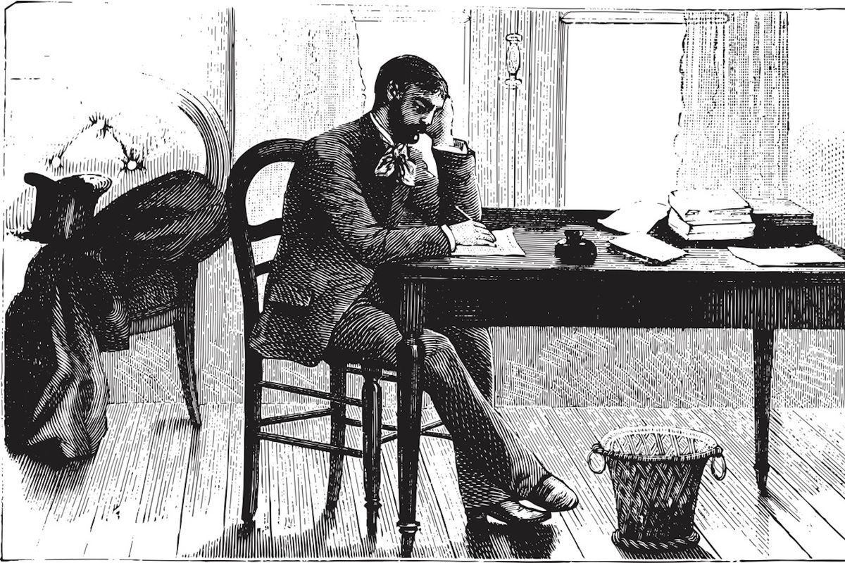 An illustration of a 19th century man writing at his desk, with clutter and curtains in the background.