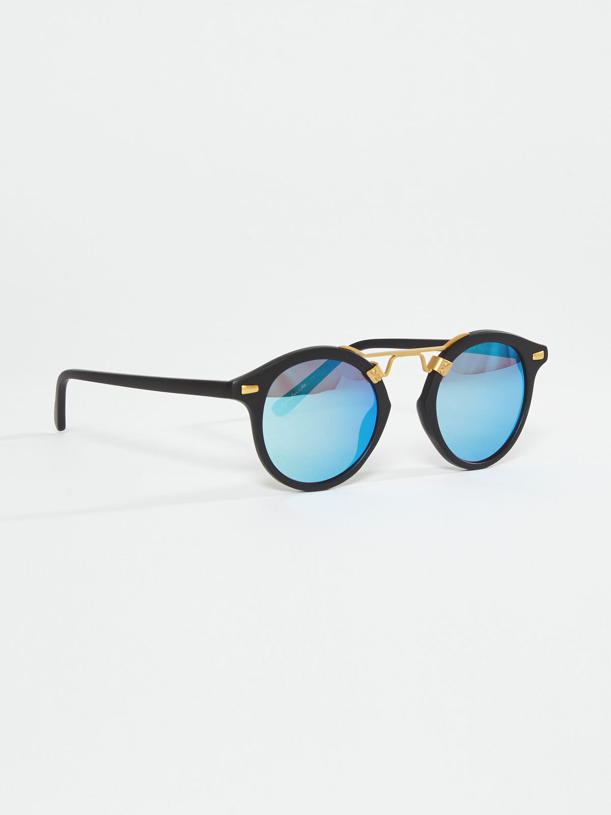 Concrete+Water round frame sunglasses with blue tint