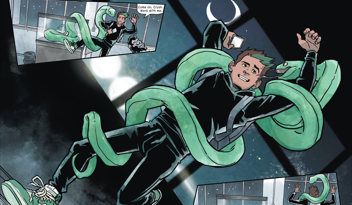 Gar/Beast Boy takes a selfie with a friendly python wrapped around his body in Teen Titans: Beast Boy, DC Comics (2020).