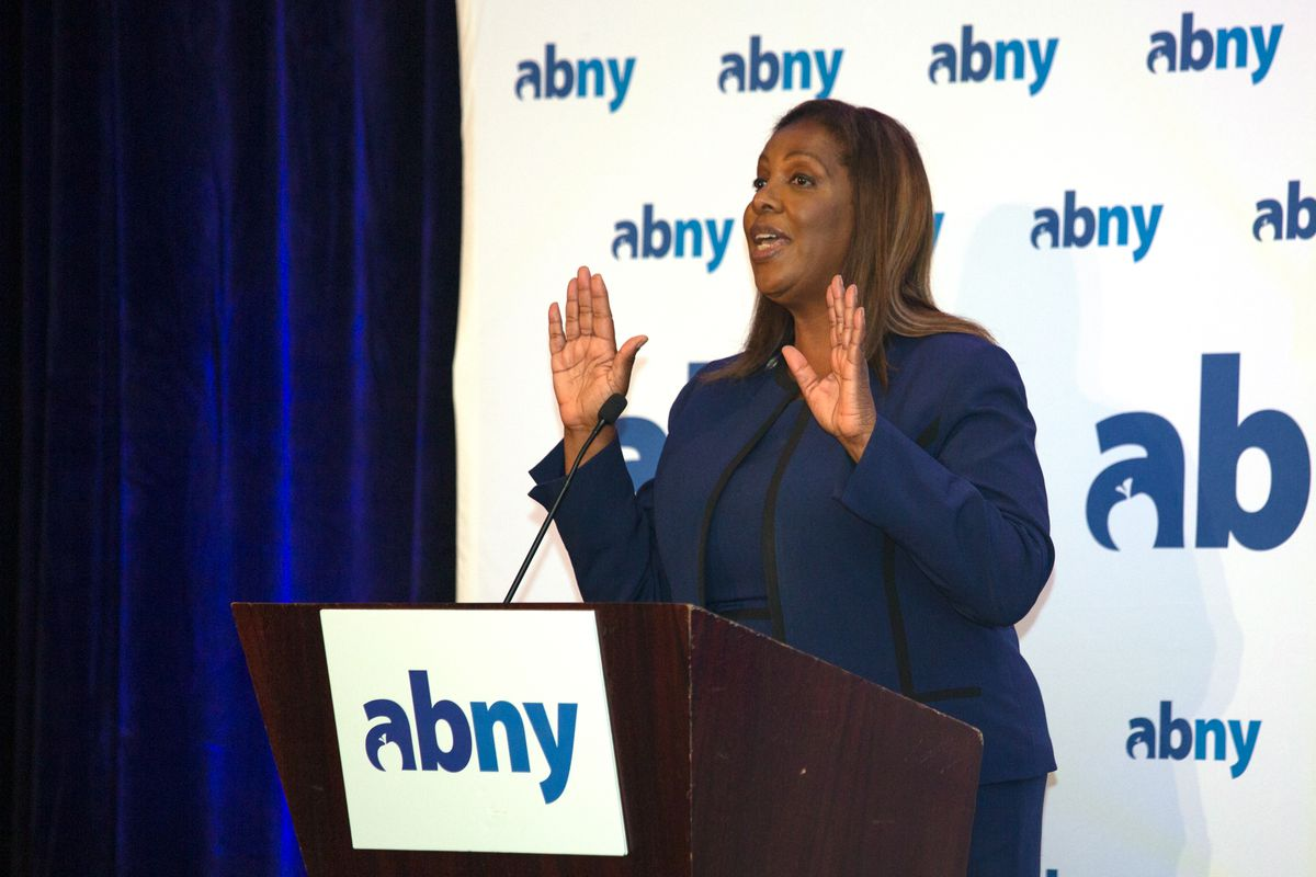 State Attorney General Letitia James speaks at an Association for a Better New York breakfast in Lower Manhattan, Sept. 29, 2021.