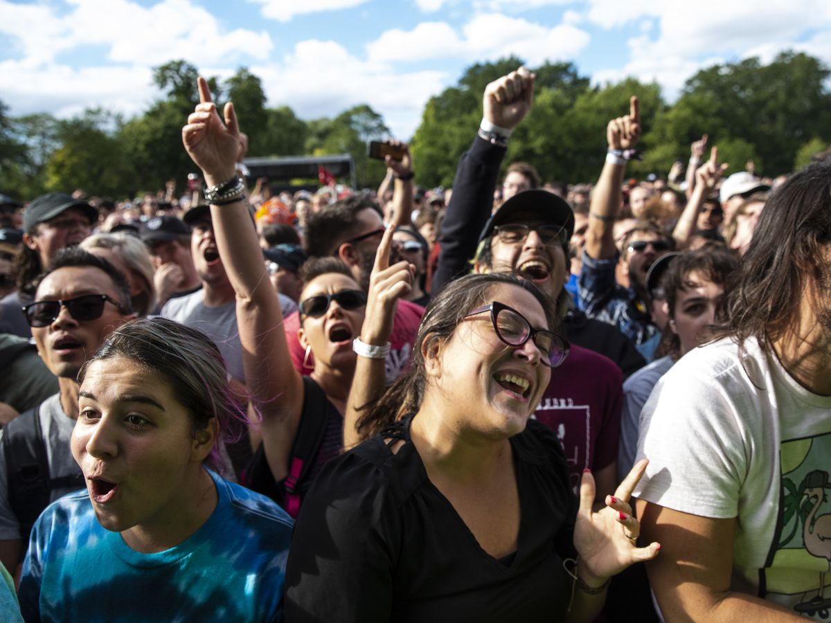 Fans dance and cheer as The Get Up Kids perform on day one of Riot Fest, Friday afternoon, Sept. 13, 2019.