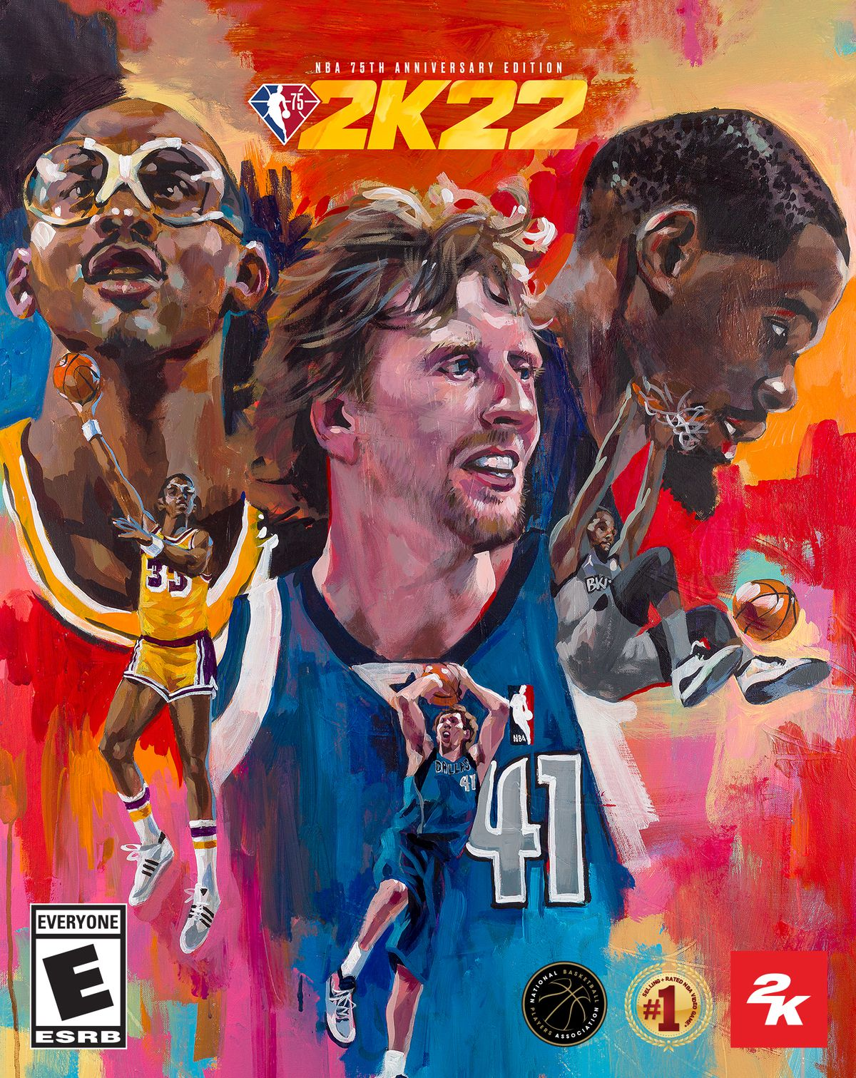 Kareem Abdul-Jabbar, Dirk Nowitzki and Kevin Durant on the cover for NBA 2K22.