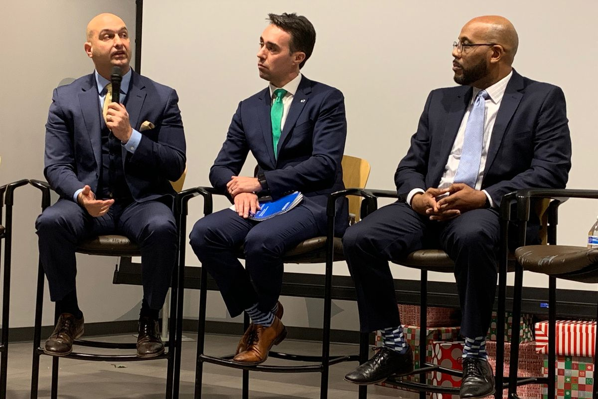 Detroit schools superintendent Nikolai Vitti, Grand Valley State University charter school leader Rob Kimball and Detroit Collegiate High School Principal Edwynn Bell participate in the second annual State of the Schools address.