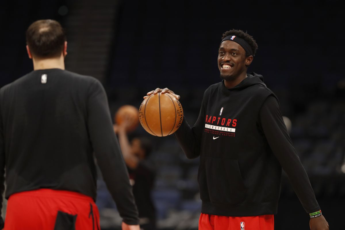 Pascal Siakam of the Toronto Raptors warms up before the game against the Miami Heat January 20, 2021 at Amalie Arena in Tampa, Florida.