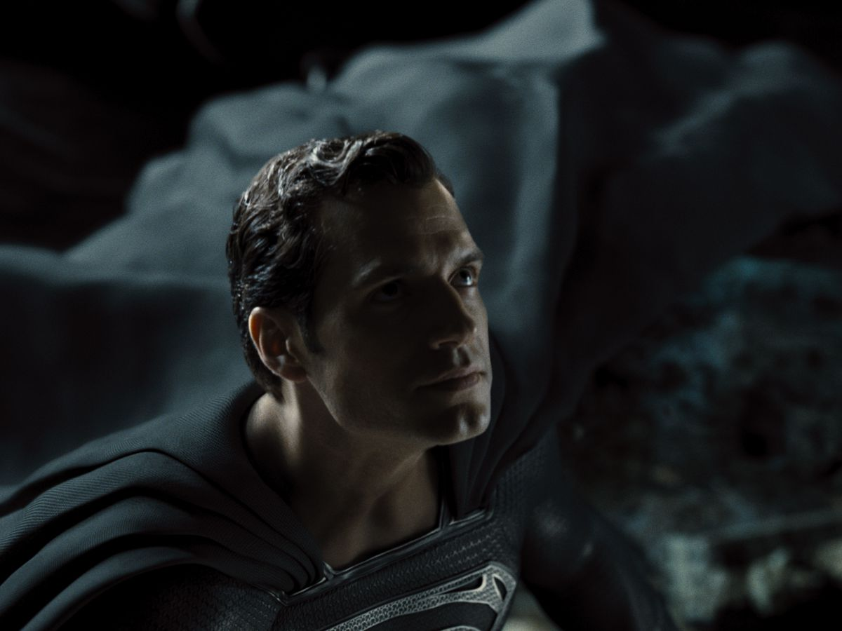 A close-up of Henry Cavill's grim face as Superman in Zack Snyder's Justice League