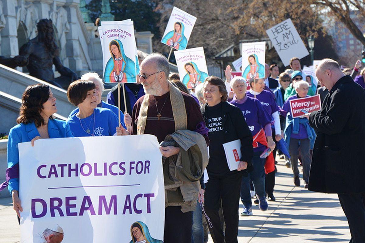 Several hundred Catholic demonstrators march on Capitol Hill on Feb. 27, 2018, to demand congressional action on the Deferred Action for Childhood Arrivals program.