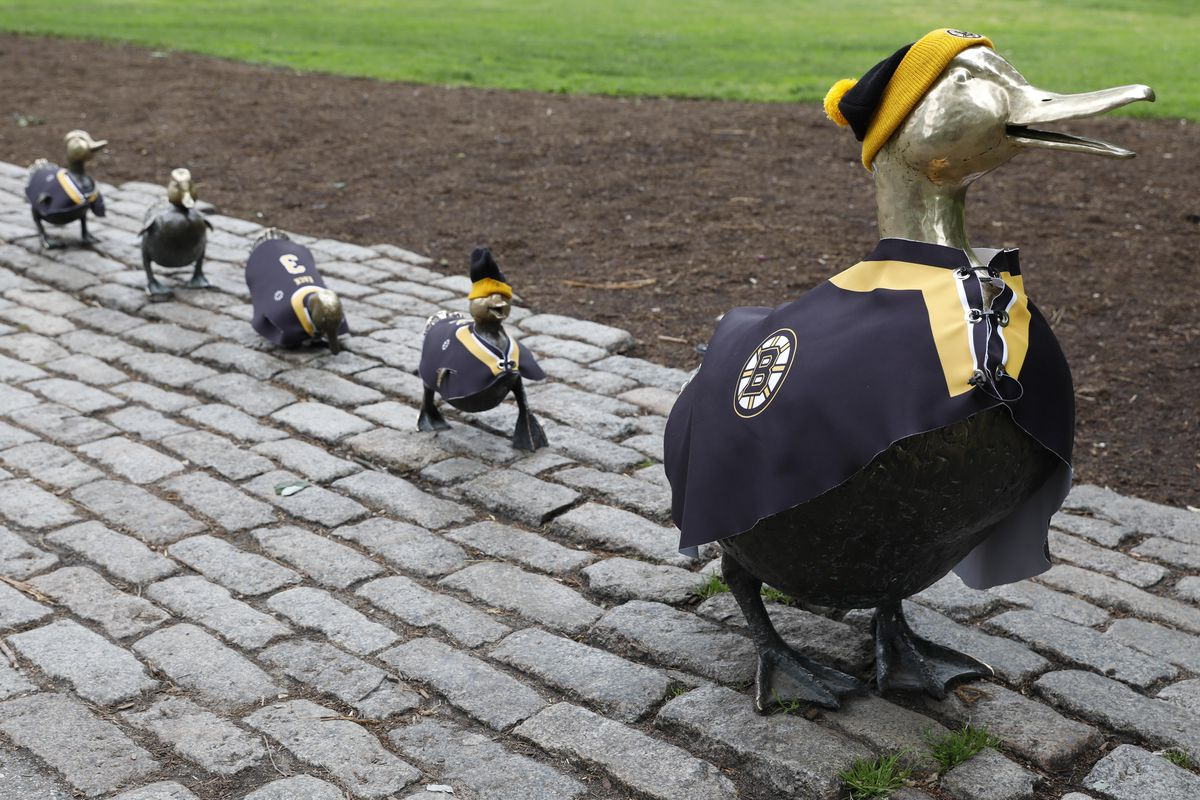 """May 29, 2019; Boston, MA, USA; The \""""Make Way for Ducklings\"""" statues in Boston Public Garden wear Boston Bruins jerseys before game two of the 2019 Stanley Cup Final against the St. Louis Blues. Mandatory Credit: Greg M. Cooper"""