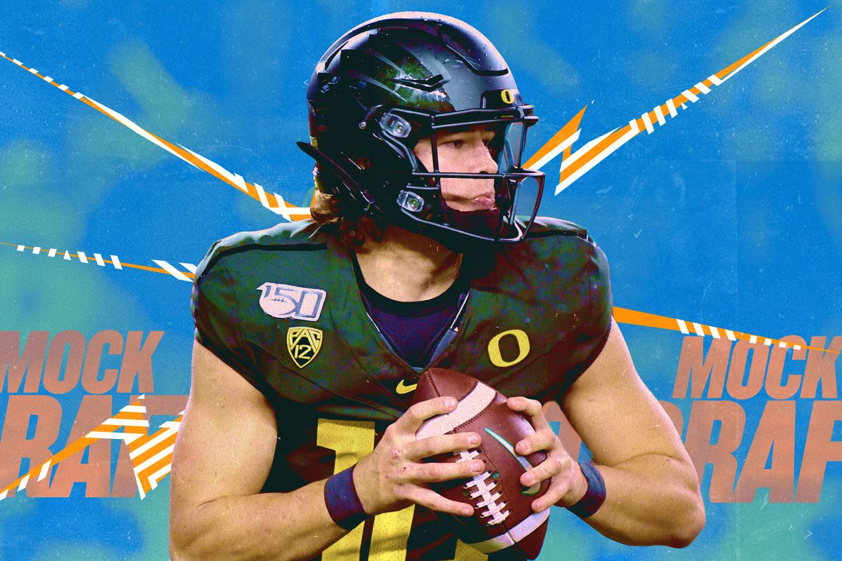 2020 NFL Draft prospect Justin Herbert, QB out of Oregon, holds a football with the words MOCK DRAFT in orange lettering in the background