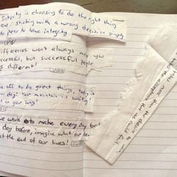 """Emma Callaghan glued the messages from her father's napkin notes into a book because she said, """"My dad was really sick and I was trying to save a piece of him."""""""