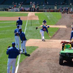 11:47 a.m. Pitcher Ben Rowen throwing in the Cubs bullpen -