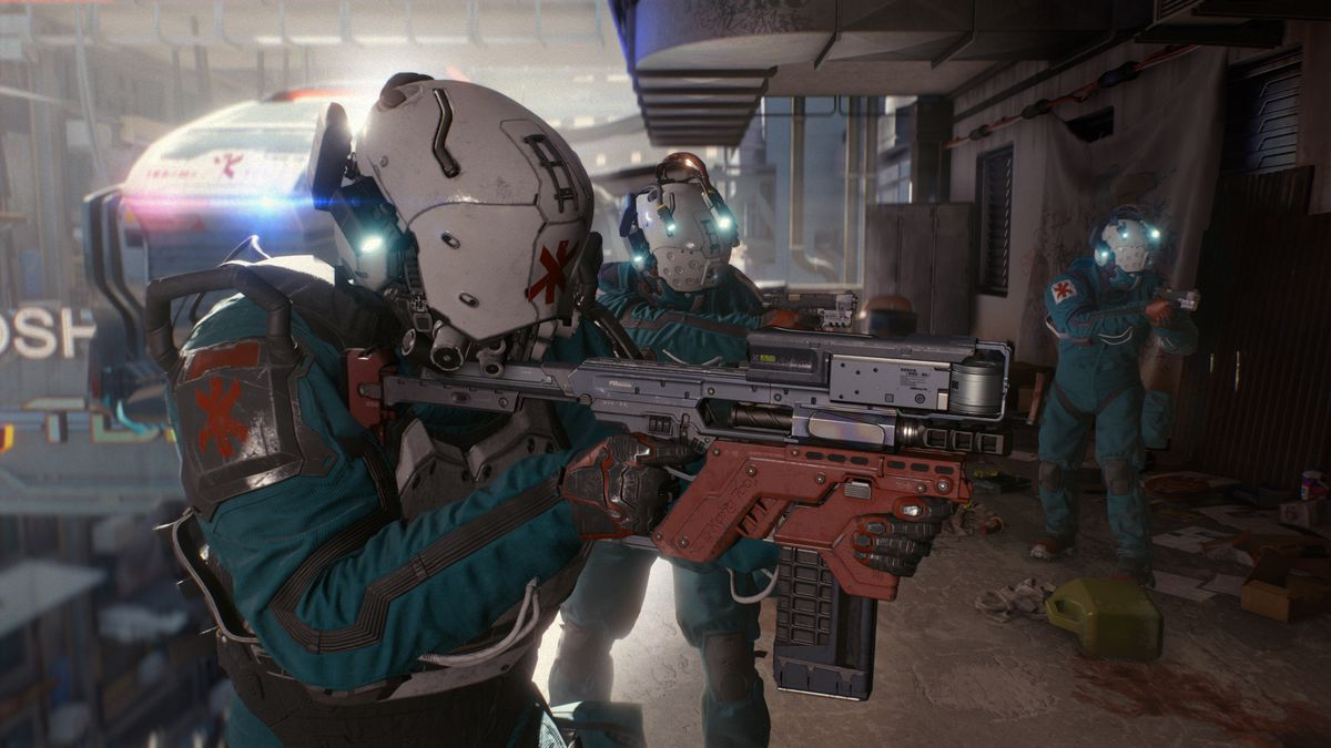 A member of the Trauma Team, a group of heavily-armed first responders, steps from their flying car directly into the bombed out side of a highrise apartment to render aid to an insured client. Cyberpunk 2077, E3 2018.
