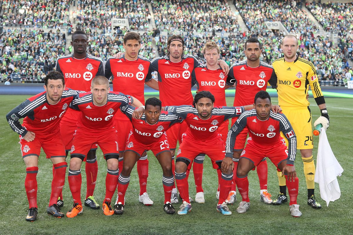 SEATTLE - APRIL 30:  Members of Toronto FC pose for the team photo prior to the game against the Seattle Sounders FC at Qwest Field on April 30, 2011 in Seattle, Washington. Seattle defeated Toronto 3-0. (Photo by Otto Greule Jr/Getty Images)