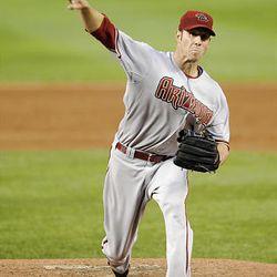 Arizona Diamondbacks starter Jon Garland delivers a pitch against the Washington Nationals during the third inning.