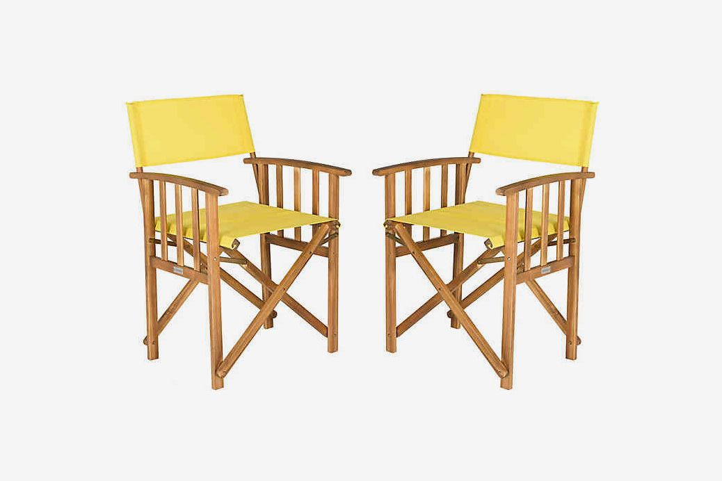 Yellow fabric and wood chair.