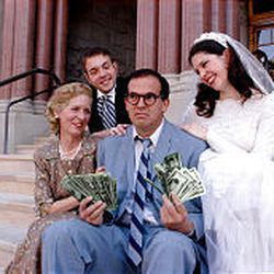 """Vicki Pugmire, left, Brian Bahr, Bruce Craven and Ashlee LaPine in a scene from SLCC's Grand Theatre production of """"Father of the Bride."""""""