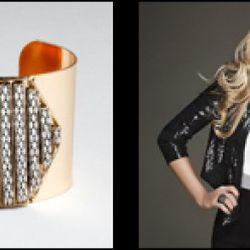 """From left: Metal cuff with hexagon stone design, $15.99 (orig. $24); Sequin """"Waterfall"""" stretch jacket, $69.30 (orig. $99)"""