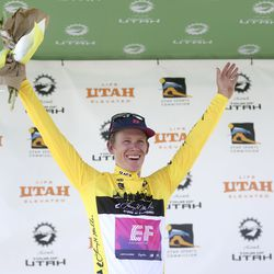 Lawson Craddock celebrates after receiving the yellow jersey after Stage 1 of the Tour of Utah in North Logan on Tuesday, Aug. 13, 2019.