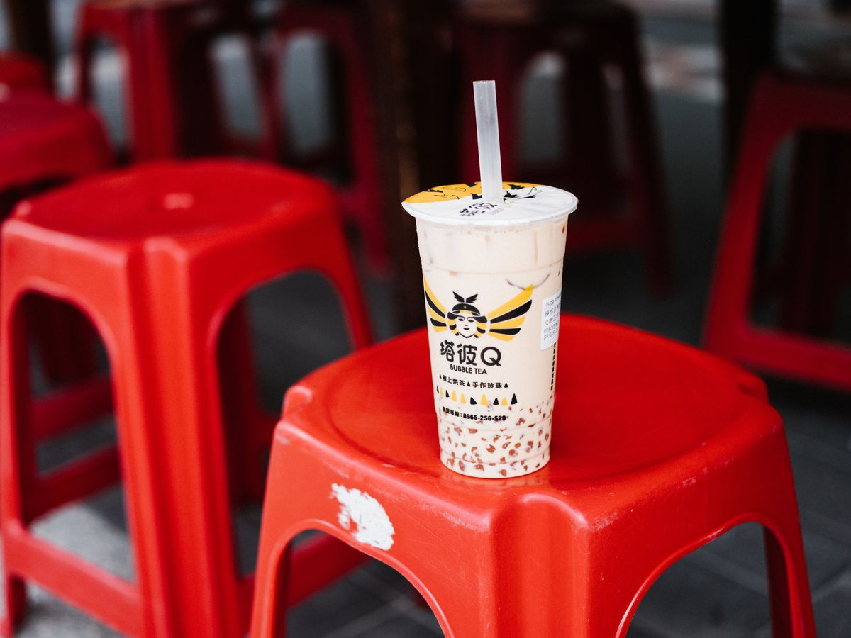 A regular milk tea with red chili boba from Top Q Tea shop in Banqiao, Taipei, Taiwan.