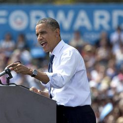 President Barack Obama speaks at a campaign event at Strawbery Banke Museum in Portsmouth, N.H., Friday, Sept. 7, 2012.