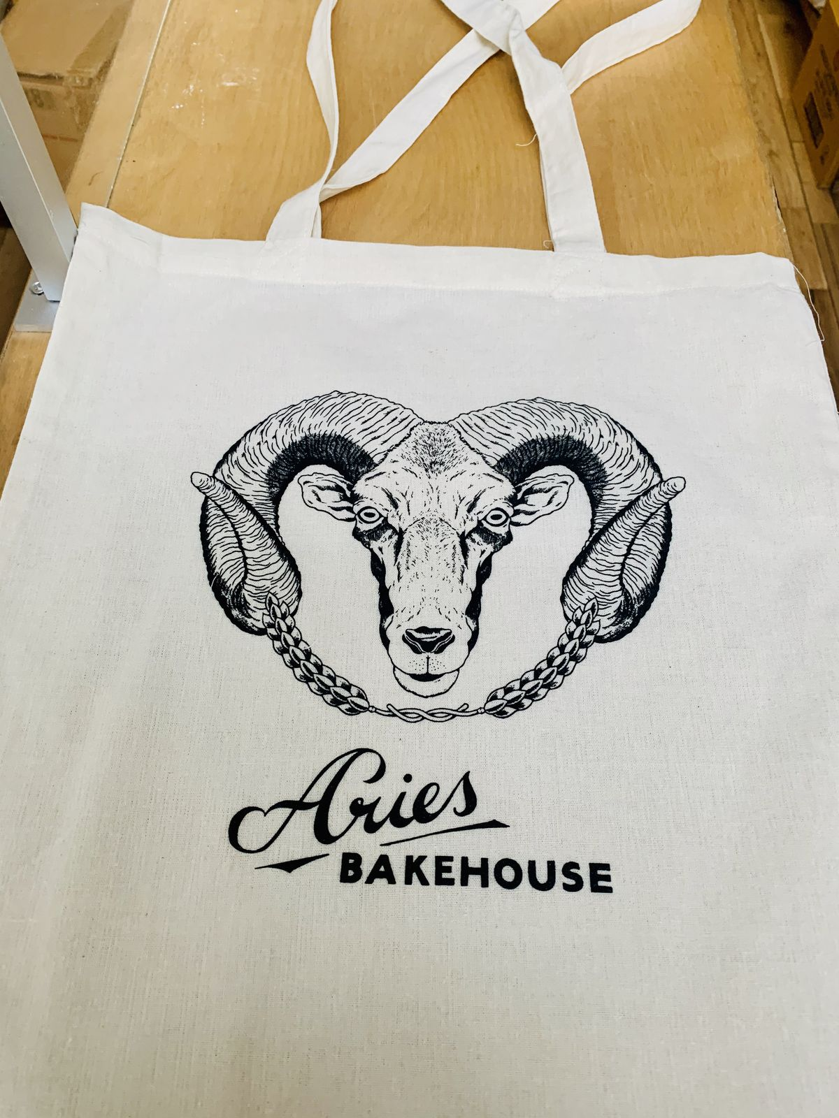 London's best restaurant merch includes this Aries Bakehouse tote bag with a ram design