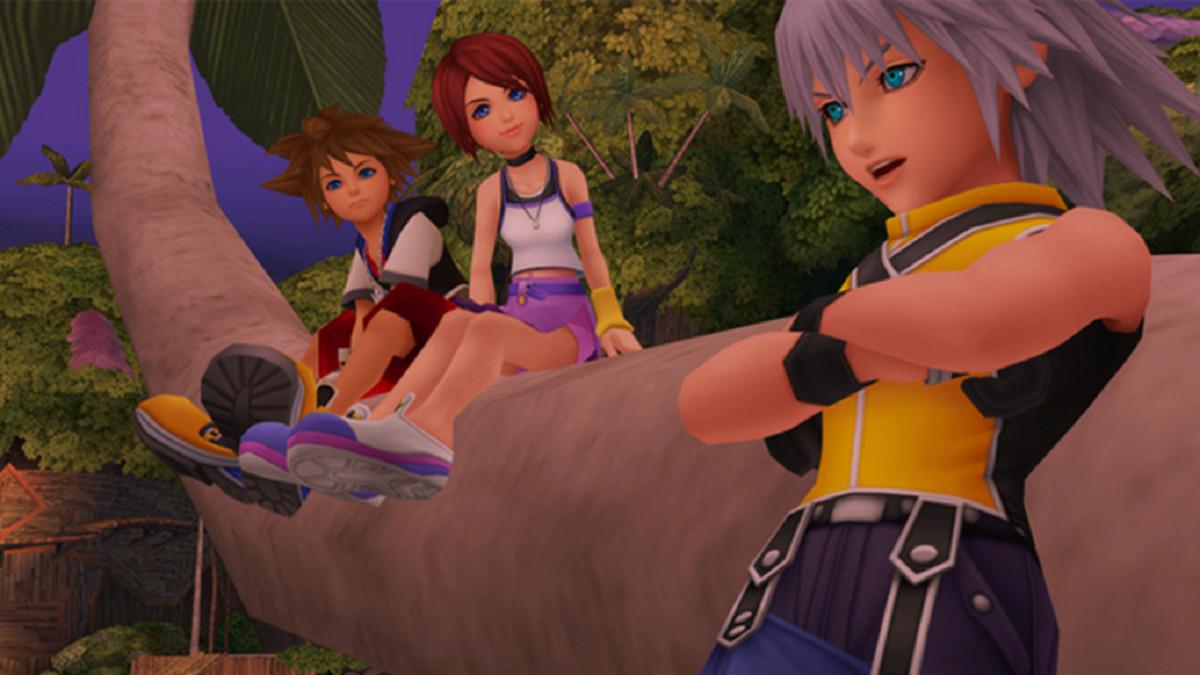 Sora, Kairi, and Riku grouped together in Kingdom Hearts