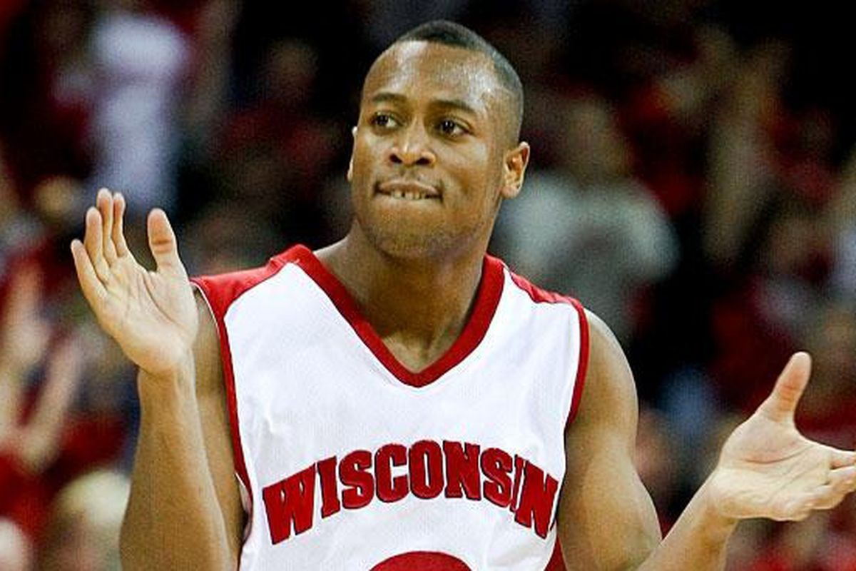 Trevon Hughes has a lot to celebrate as he looks back on his career at Wisconsin. (AP Photo)