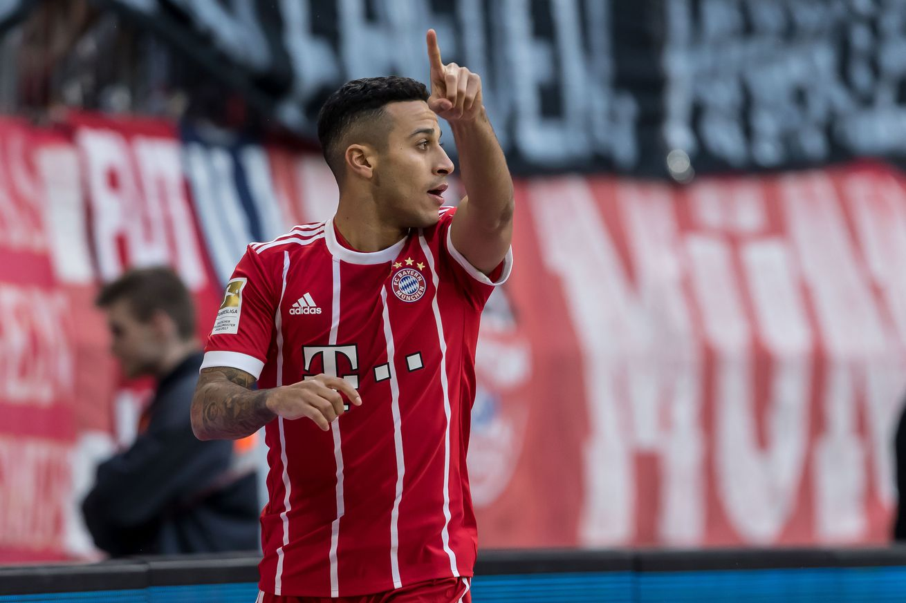 Thiago scores, comes off with injury