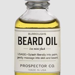 """The oils in this formula condition your skin and hair, and the rugged outdoor scent can double as your cologne. <strong>Prospector Co.</strong> Beard Oil, <a href=""""http://www.teichdesign.com/collections/men/products/beard-oil"""">$18</a> at Teich"""