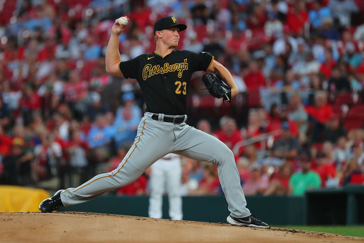 Mitch Keller #23 of the Pittsburgh Pirates delivers a pitch against the St. Louis Cardinals in the first inning at Busch Stadium on August 20, 2021 in St Louis, Missouri.