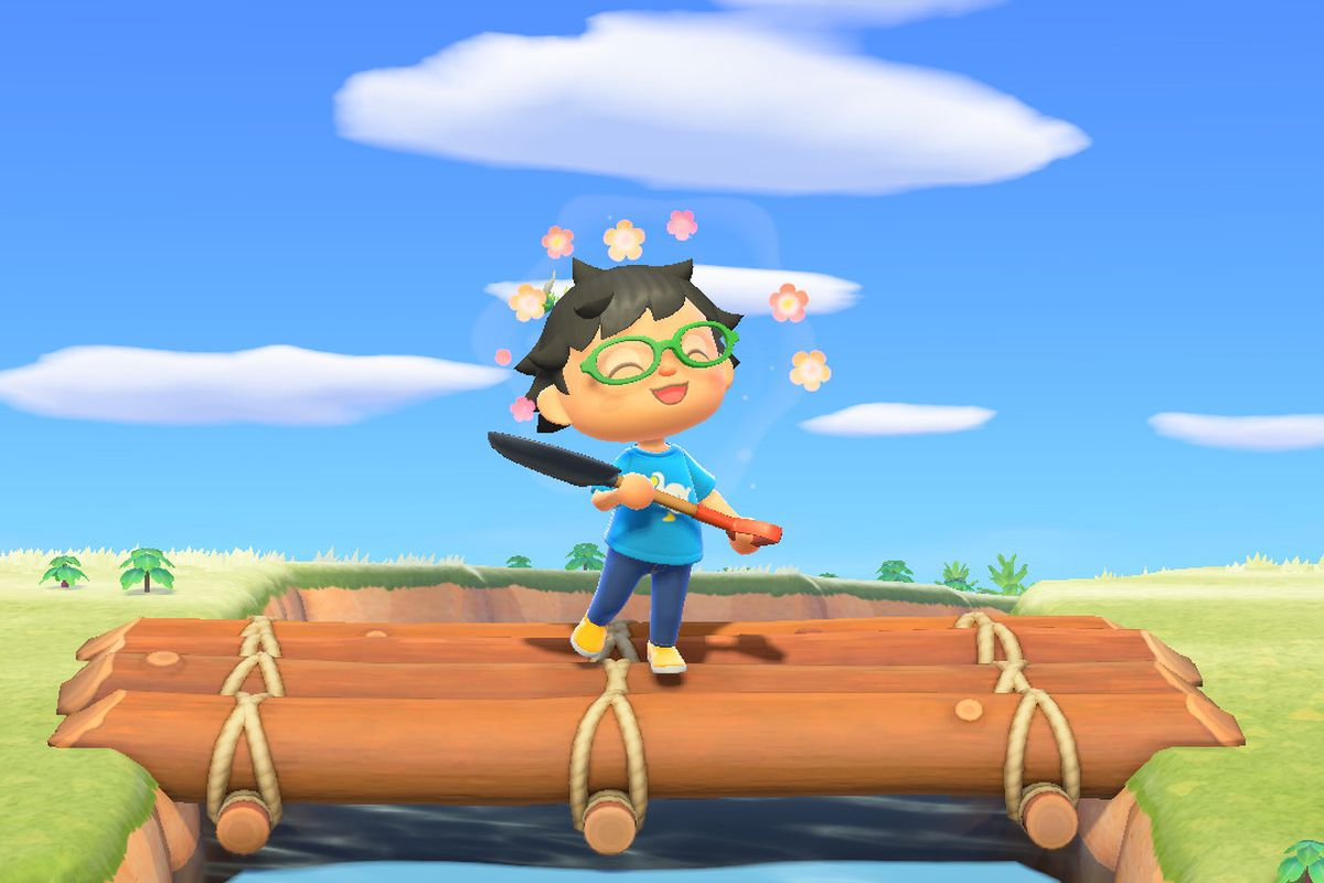 A happy villager stands on a bridge with a shovel in Animal Crossing: New Horizons