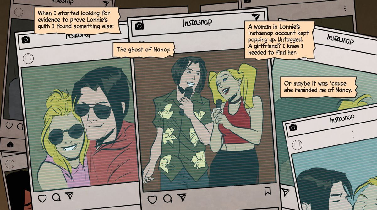 """A collage of posts on the fictional social media platform """"Instasnap"""" featuring a dark haired man who Joe Hardy suspects of having something to do with Nancy Drew's death, and a blonde woman kissing, taking selfies, and singing karaoke, in Nancy Drew and the Hardy Boys: The Death of Nancy Drew #1, Dynamite Comics (2020)."""