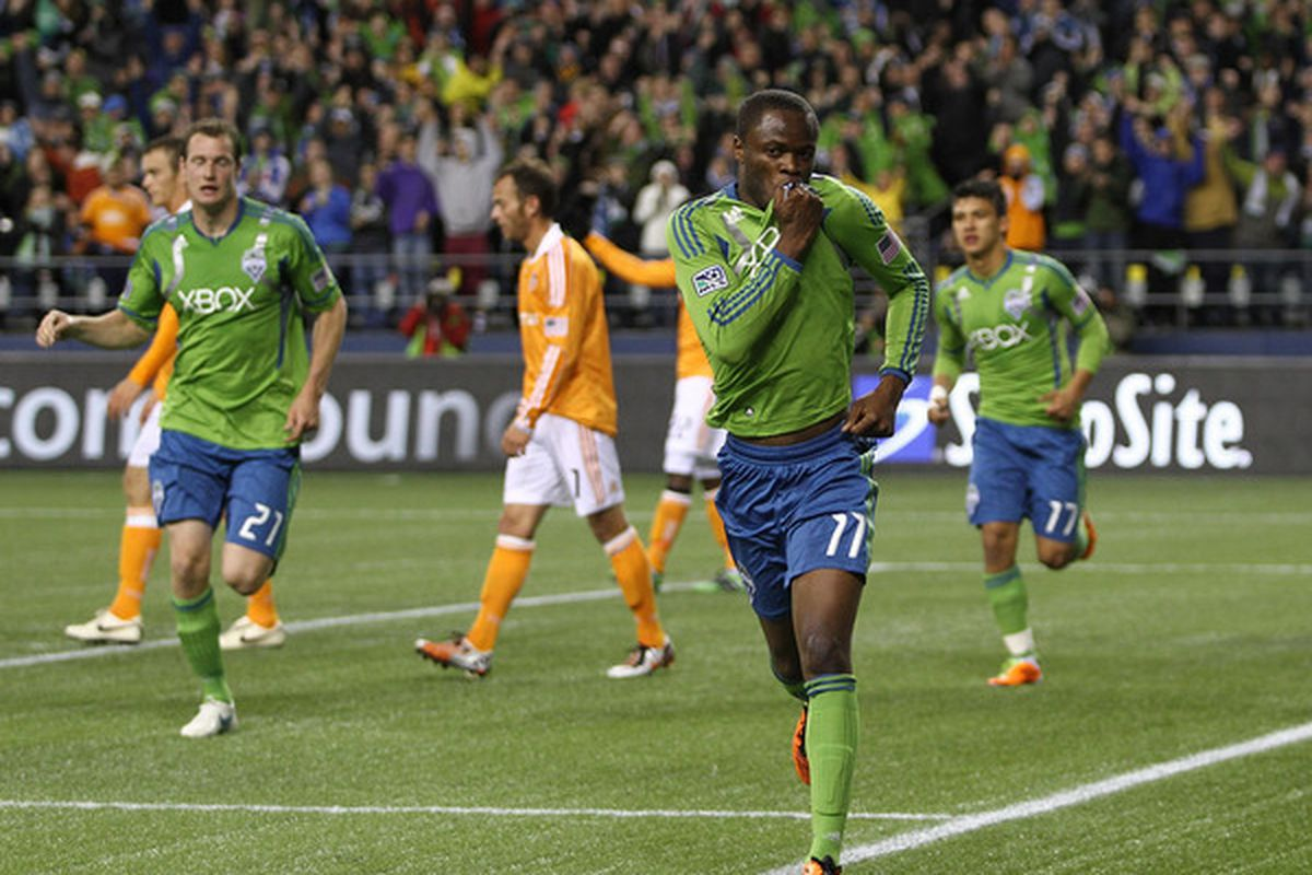 Steve Zakuani's 80th minute goal salvaged a tie for the Seattle Sounders in a game they dominated everywhere but the scoreboard. (Photo by Otto Greule Jr/Getty Images)