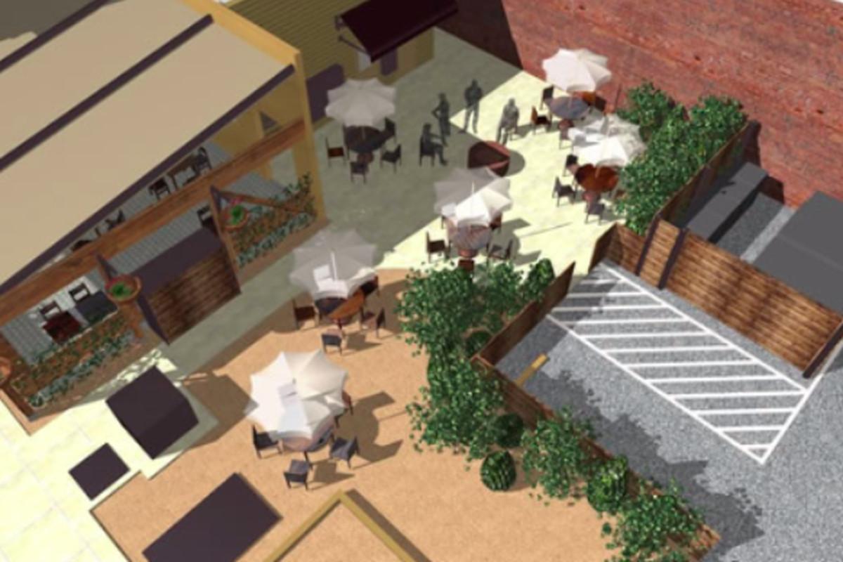 A rendering of KAOS' exterior
