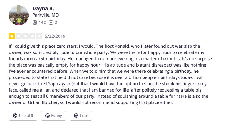Dayna R.'s Yelp review of El Sapo