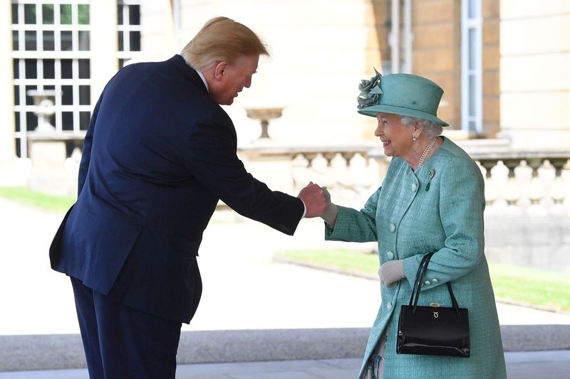 President Donald Trump is greeted by Queen Elizabeth II at Buckingham Palace on June 3, 2019, in London, England.