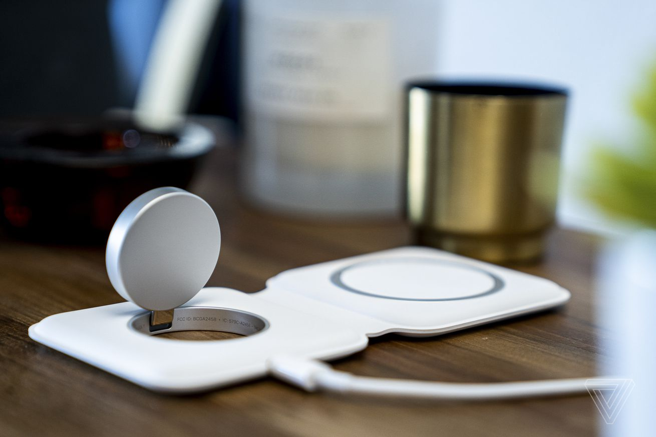 The watch charger flips up so you can use the Apple Watch in nightstand mode.