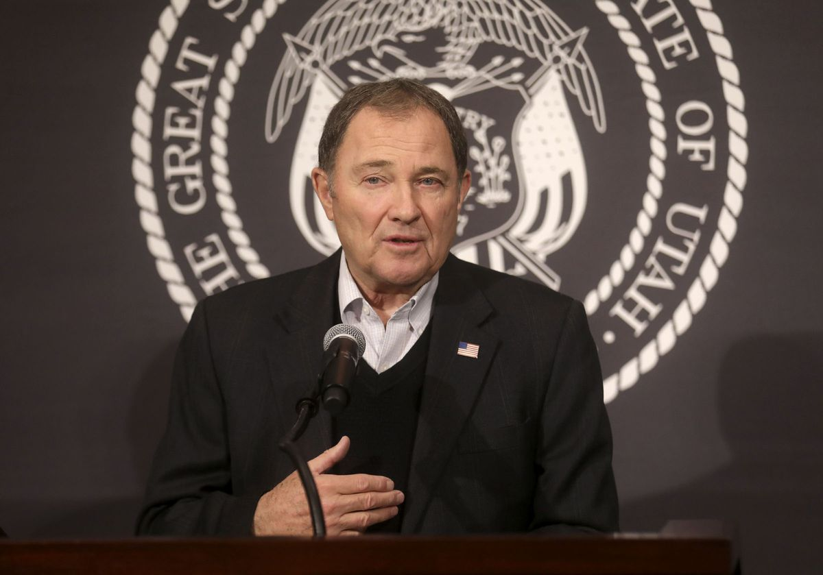 Gov. Gary Herbert speaks during a daily media briefing about COVID-19 at the Capitol in Salt Lake City on Wednesday, April 1, 2020.