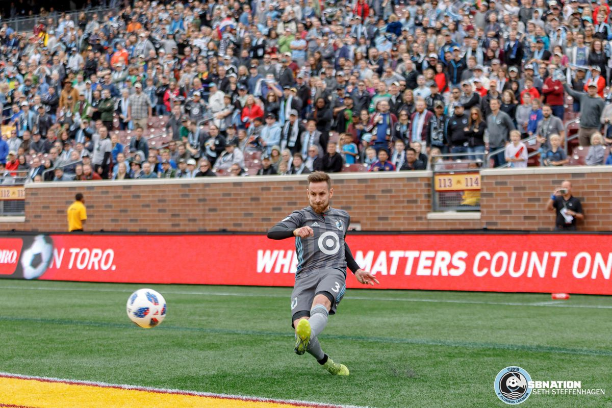 May 12, 2018 - Minneapolis, Minnesota, United States - Minnesota United defender Jerome Thiesson (3) crosses the ball during the match against the San Jose Earthquakes at TCF Bank Stadium.