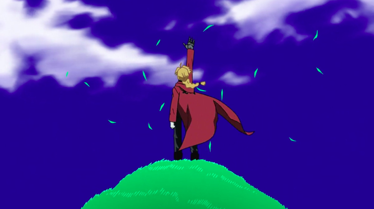 Edward Elric stands on top of a green hill, reaching out to the sky. He is wearing his trademark red calf-length coat and there are grass blades flying around.