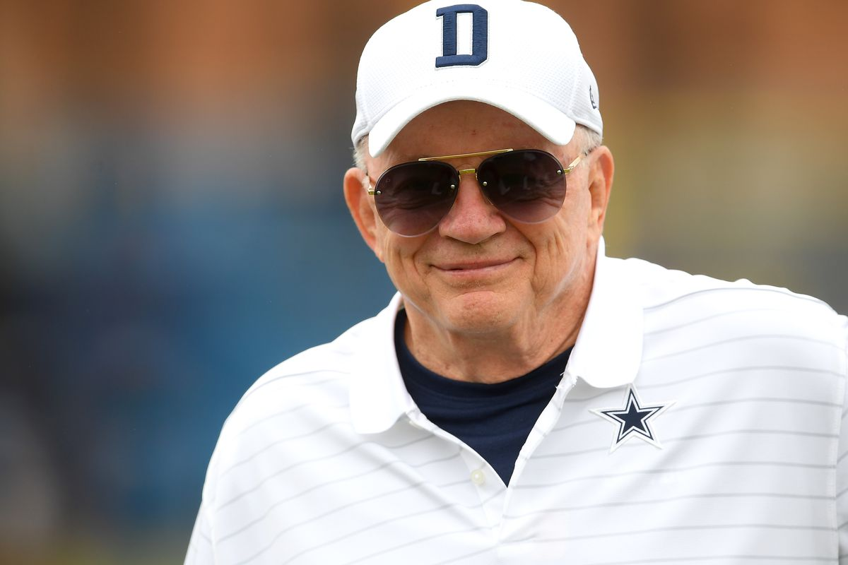 Owner Jerry Jones of the Dallas Cowboys welcomes fans to training camp at River Ridge Complex on July 24, 2021 in Oxnard, California.