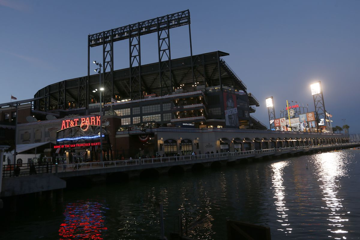 Dusk settles on AT&T Park and McCovey Cove as the San Francisco Giants play the Chicago Cubs in the National League Division Series Game 4 in San Francisco, Calif., on Tuesday, Oct. 11, 2016. (Jane Tyska/Bay Area News Group)
