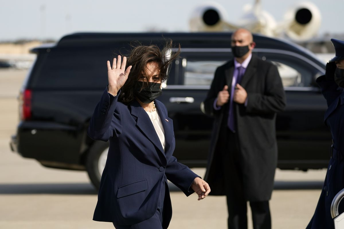 Vice President Kamala Harris waves as she boards Air Force Two, Friday, March 19, 2021, at Andrews Air Force Base, Md. Harris is en route to Atlanta.