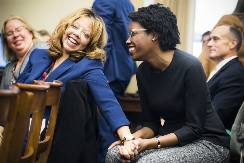 Members elect Lucy McBath (D-Ga.), left, and Lauren Underwood (D-Ill.) are both first-time representatives.