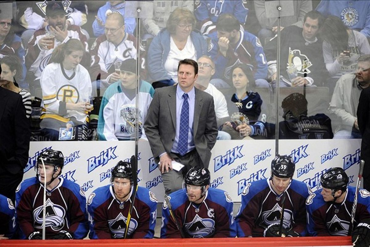 Colorado Avalanche head coach Joe Sacco will have some new faces with him behind the bench at the Pepsi Center this season.  Mandatory Credit: Ron Chenoy-US PRESSWIRE