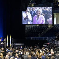 Mayor Lori Lightfoot's 90-year-old mother, Ann Lightfoot, is shown on screen when mentioned by her daughter during during the city of Chicago's inauguration ceremony at Wintrust Arena, Monday morning, May 20, 2019.